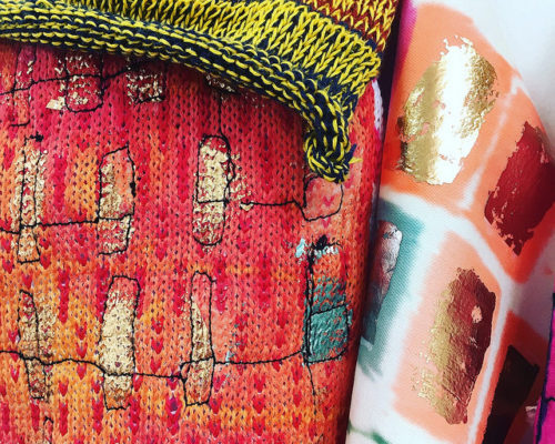 Foundation Diploma in Art & Design student artwork pink and coloured embroidered textiles